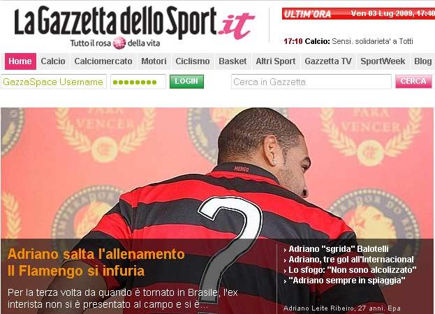 Adriano, na Gazzetta