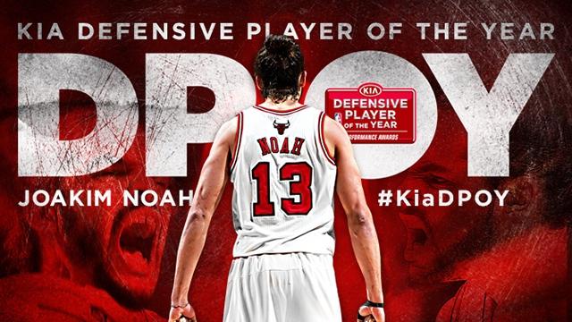 Homenagem do site oficial do Chicago Bulls a Joakim Noah, eleito o melhor defensor da temporada