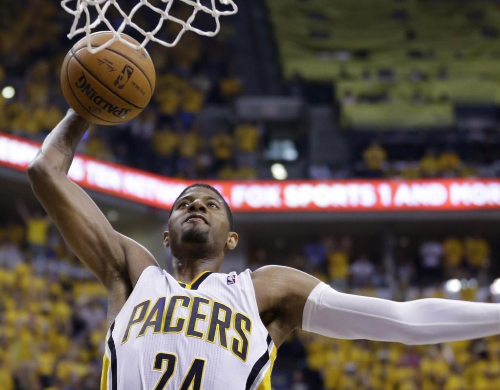 Paul George: ala do Indiana Pacers marcou 37 pontos, 21 deles no último quarto (Foto: AP)