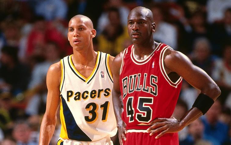 Jordan iniciou a segunda trajetória no basquete tendo Reggie Miller pela frente