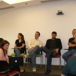A equipe do Orkut, reunida no palco para responder às perguntas dos jornalistas