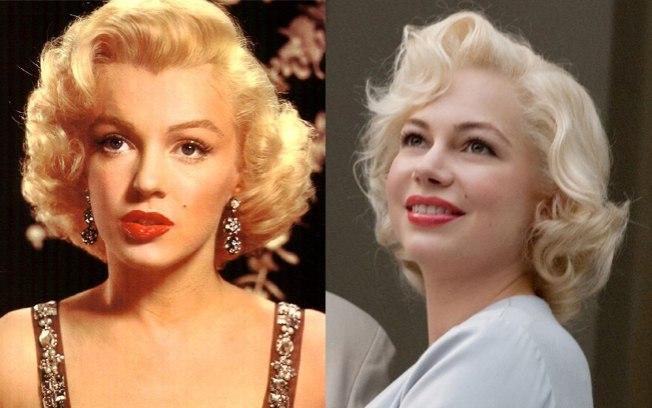 """Marilyn Monroe (à esq) e Michelle Williams que a interpretou em """"Sete dias com Marilyn"""" (Foto: reprodução)"""