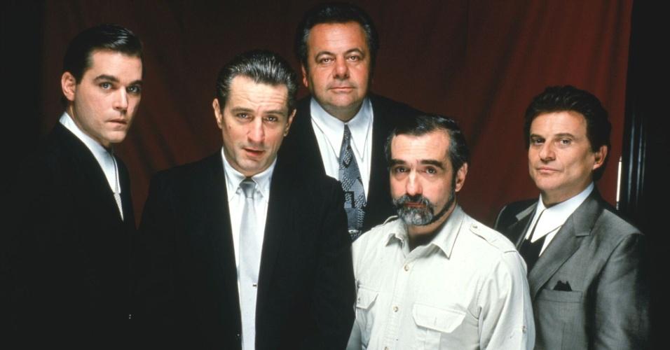 Ray Liotta, Robert De Niro, Paul Sorvino, Martin Scorsese e Joe Pesci: os bons companheiros