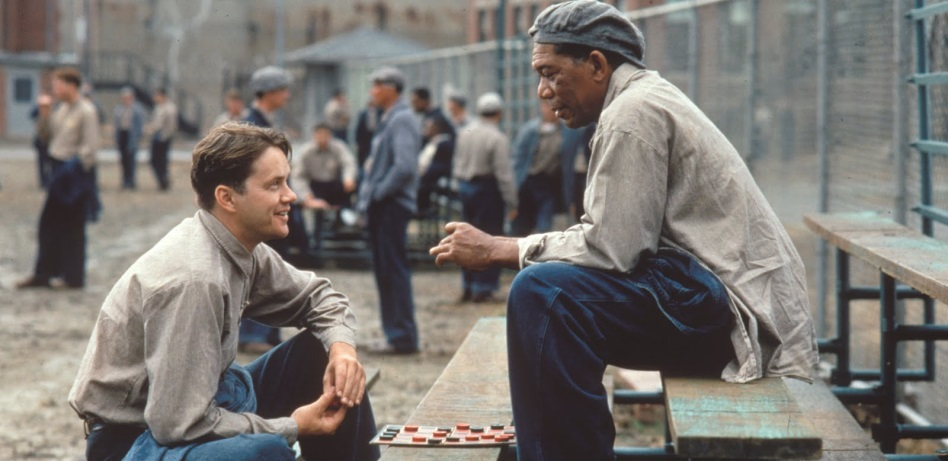 """Tim Robbins e Morgan Freeman em """"Um sonho de liberdade"""": um dos preferidos do público, também agrada em Hollywood"""