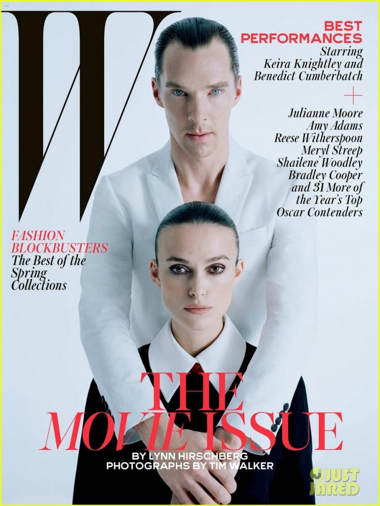 Uma das capas da revista com Benedict Cumberbatch e Keira Knightley