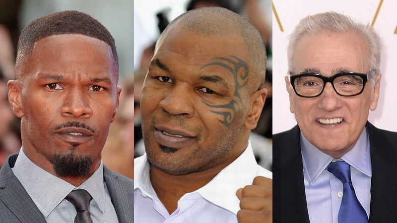 Da esquerda para a direita: Jamie Foxx, Mike Tyson e Martin Scorsese (Foto: divulgação)