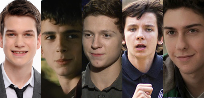 Da esquerda para a direita: Liam James, Timothee Chalamet, Tom Holland, Asa Butterfield e Nat Wolf