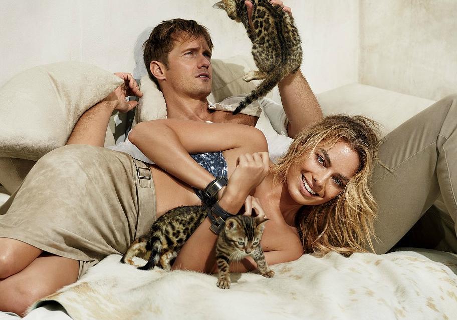 """Margot Robbie ao lado de Alexander Skarsgard, seu parceiro de cena em 'A Lenda de Tarzan"""" em editorial da Vogue"""