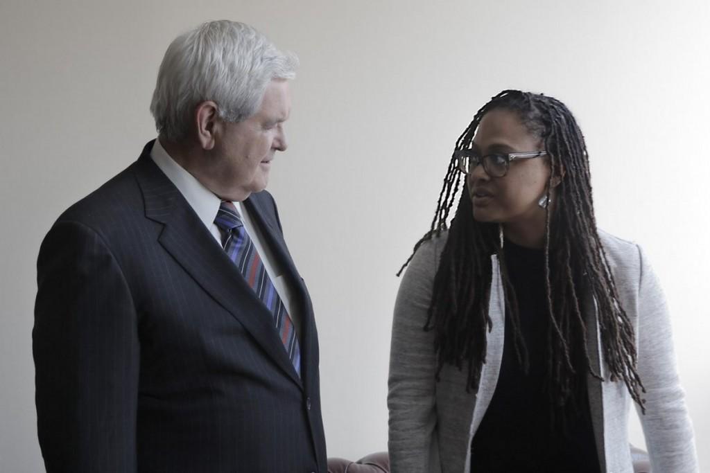 A cineasta Ava DuVernay e o político republicano Newt Gingrich pouco antes de uma das entrevistas do documentário