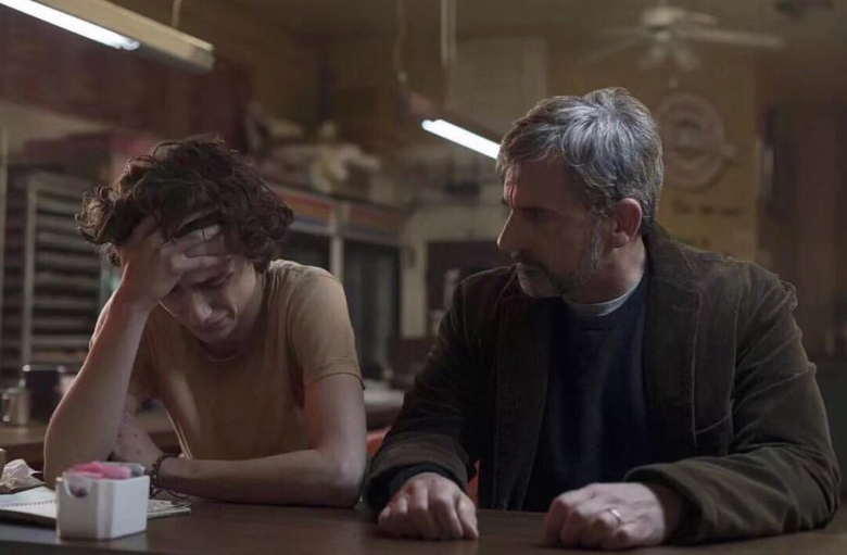 "Timothée Chalamet e Steve Carell em cena de ""Beautiful Boy"" Foto: IMDB"