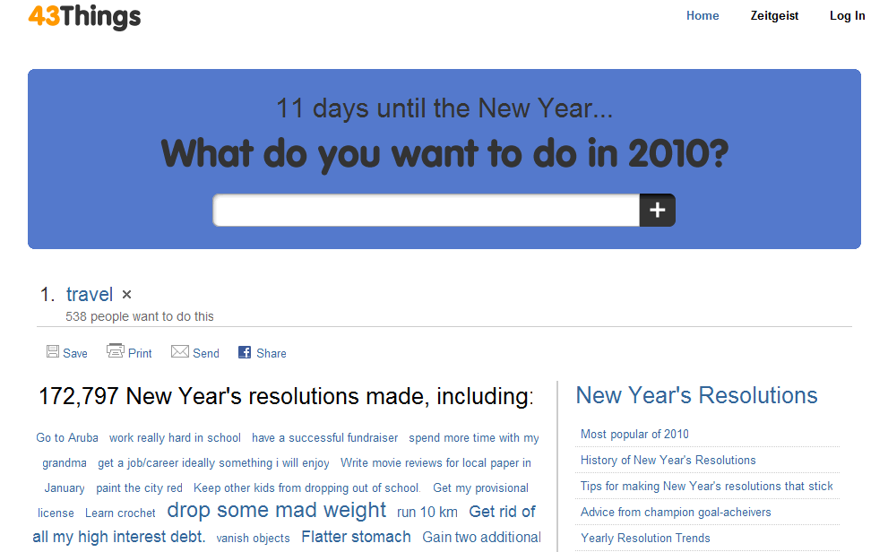 New Year's Resolutions on 43 Things