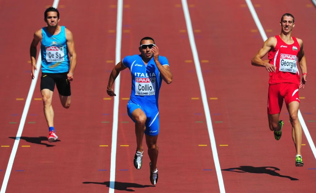 O búlgaro Georgi Kirilov Georgiev fica para trás dos rivaius nos 100 m. Logo depois, iria quebrar a perna direita