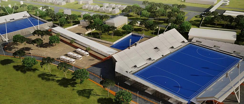 Projeção da arena de hóquei sobre grama que será construída em Deodoro para o Rio 2016
