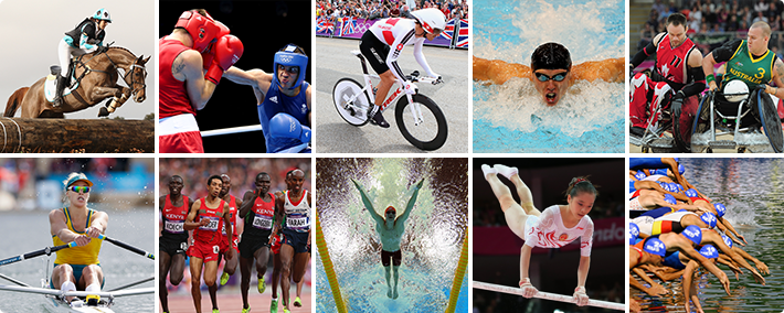 Foto-montagem que exibe as imagens das modalidades que terão eventos-testes antes das Olimpíadas do Rio