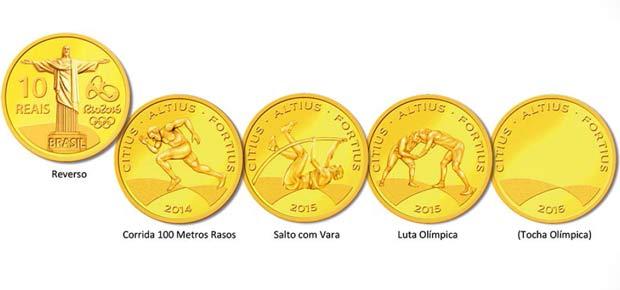 As moedas que serão lançadas para homenagear os Jogos Olímpicos de 2016