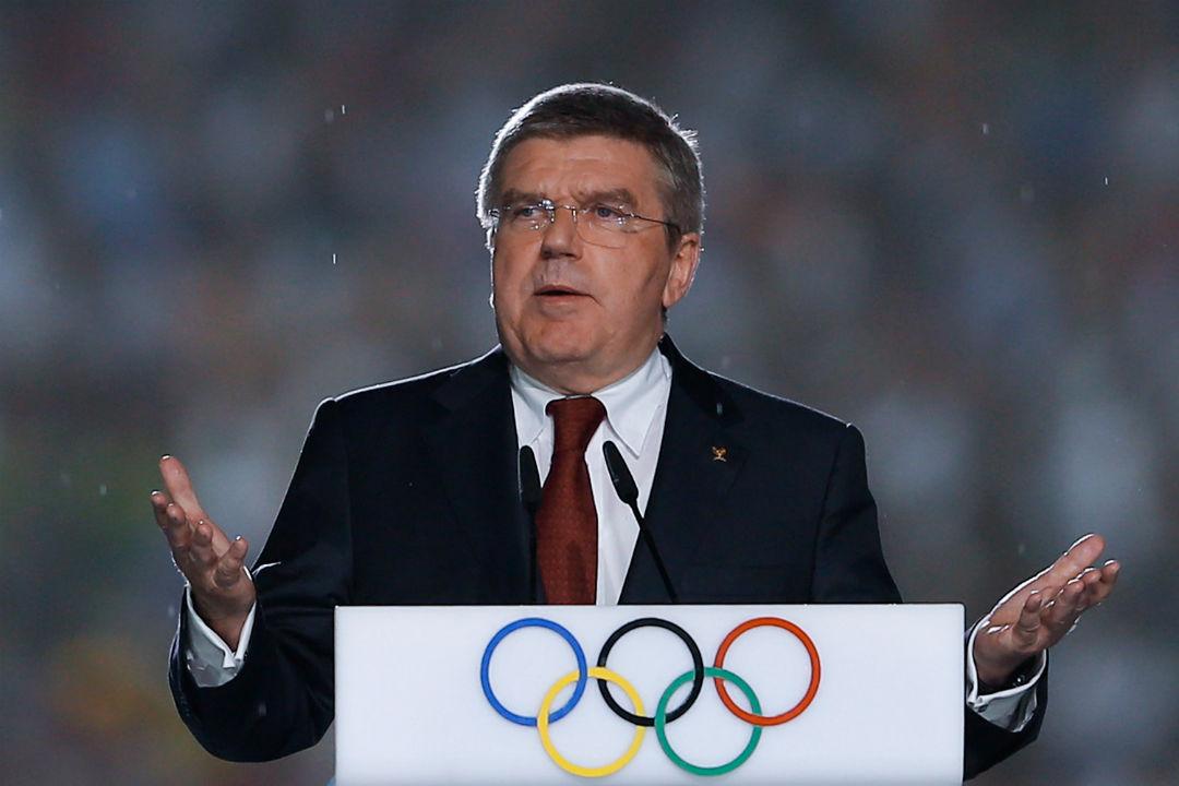 O alemão Thomaz Bach, presidente do COI, duiscursa durante o encerramento das Olimpíadas da Juventude, em Nanquim (CHN)