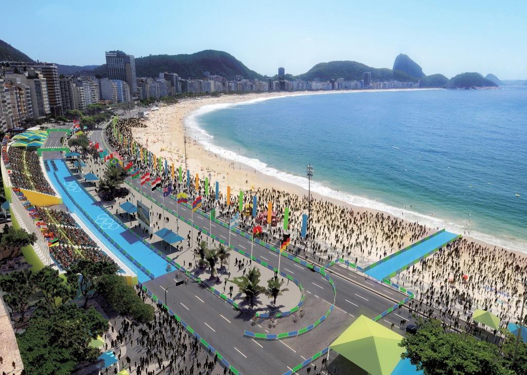 Projeção da instalação do triatlo para a Rio 2016, na Praia de Copacabana