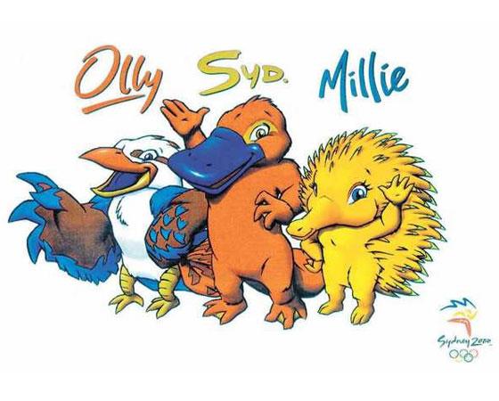 As mascotes Ollie, Syd e Millie, de Sydney 2000