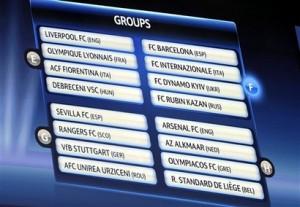 Grupos E, F, G e H da Liga dos Campeões