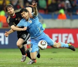 Alemanha 3 x 2 Uruguai, em 2010