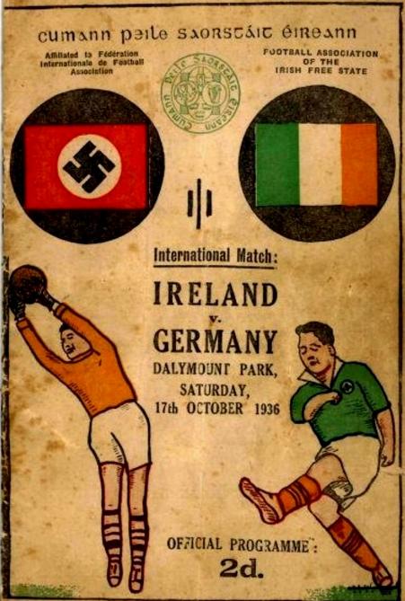 Cartaz do jogo amistoso de 1936, que terminou Irlanda 5 x 2 Alemanha