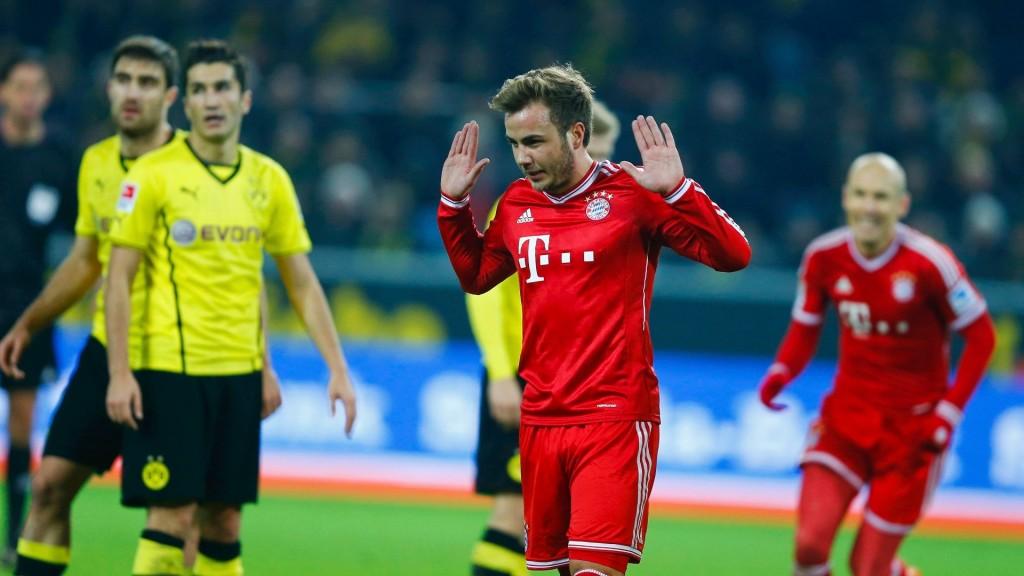 Mario Götze não comemorou o seu gol contra o Borussia Dortmund
