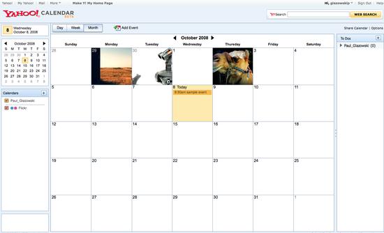 miniaturas das suas fotos no meio do calendário.