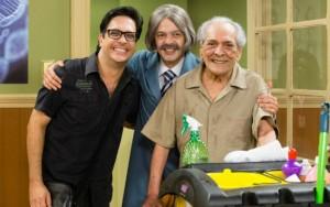 """Bruno Mazzeo (centro) com Lúcio Mauro e Lúcio Mauro Filho na nova """"Escolinha"""""""