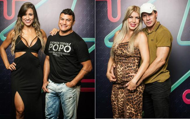 """Acelino """"Popó"""" Freitas e a mulher, Elena; Túllio Maravilha e a mulher, Cristiane (Foto: Edu Moraes/Record)"""