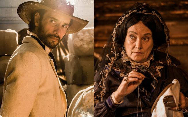 Rodrigo Santoro na pele de Afrânio e Selma Egrei como Encarnação, mãe dele (Foto: Reprodução)