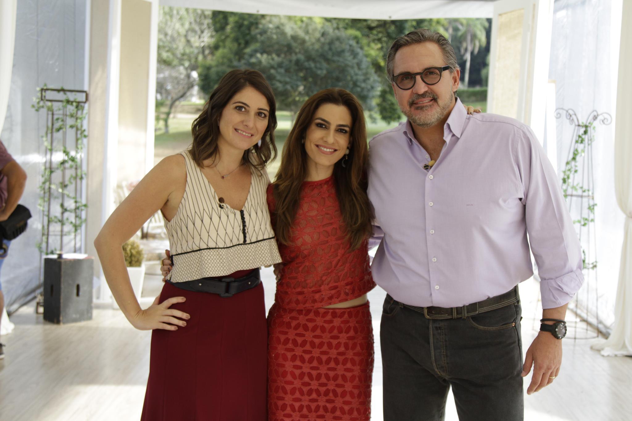 Carol Fiorentino, Ticiana Villas Boas e Fabrizio Fasano Jr. (Fotos Gabriel Gabe/SBT)