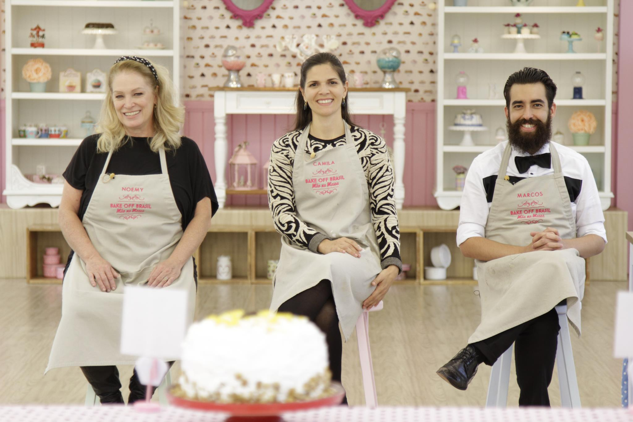 Noemy, Camila e Marcos chegaram à final do Bake Off Brasil (Fotos: Gabriel Gabe/SBT)