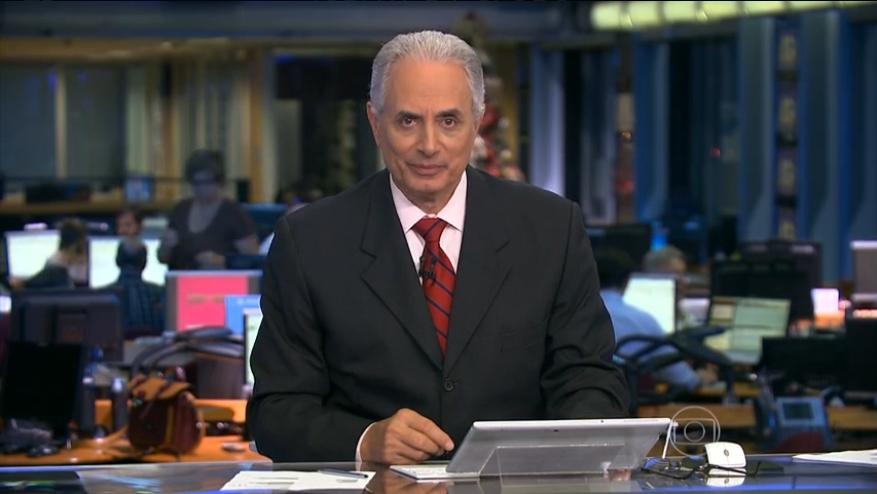 """William Waack e seu """"Jornal da Globo"""" amargam instabilidade na audiência (Reprodução)"""