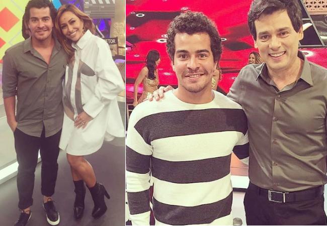 """Thiago Martins no programa de Sabrina Sato, na Record, e no """"Sabadão com Celso Portiolli, no SBT (Reprodução/Instagram)"""