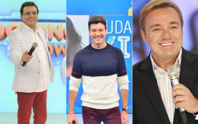 Geraldo Luís, Rodrigo Faro e Gugu renderam bons índices para a emissora em 2016 (Divulgação/Record TV)