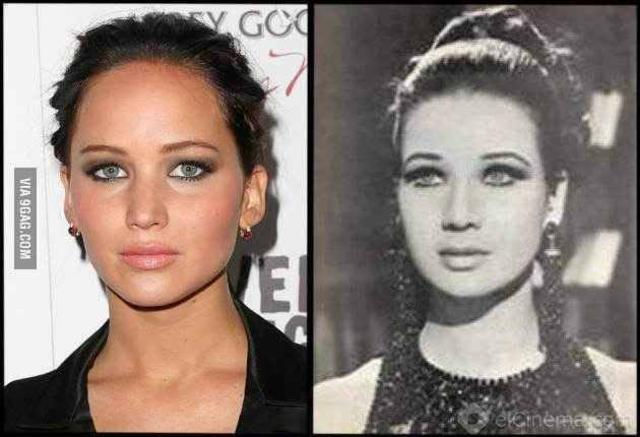 Jennifer Lawrence se parece muito com sua avó, Zebeida Tharwat.