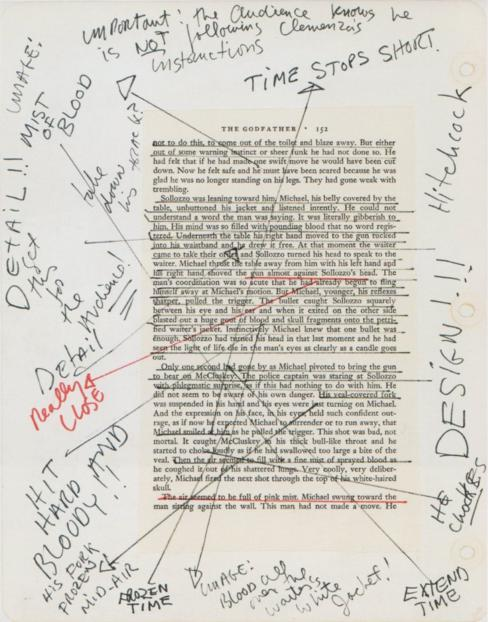 Várias anotações em uma folha de roteiro de