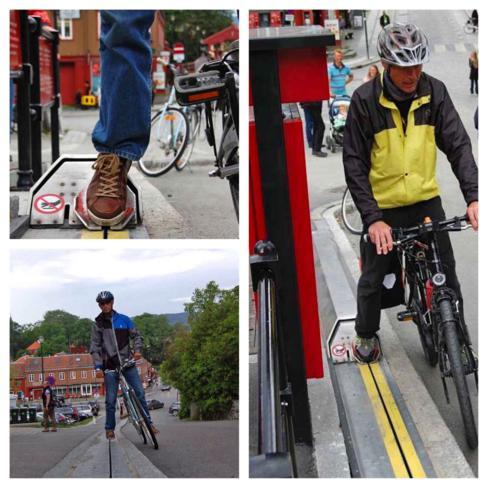 Escada rolante para quem usa bicicleta, na Noruega