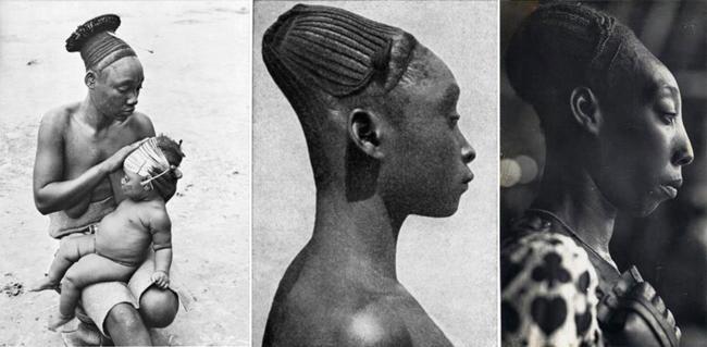 Mulheres com cabeça alongada era o ideal de beleza entre as pessoas de Mangbetu, em 1930.