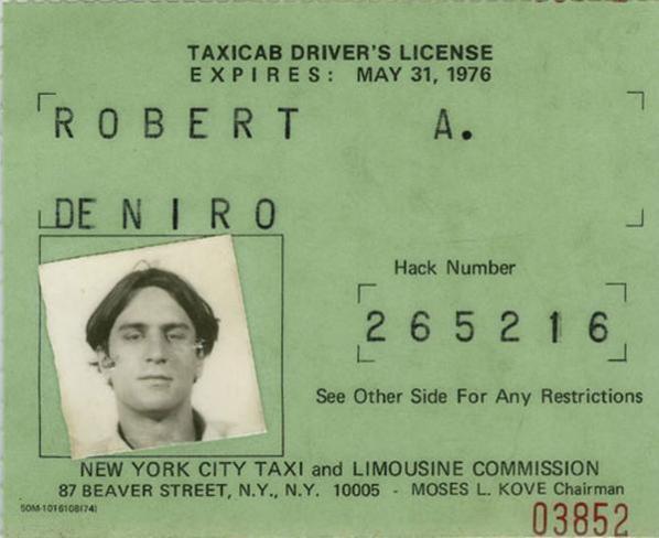 Esta foi a licença de taxista usada por Robert De Niro durante as filmagens de Taxi Driver, em 1976.