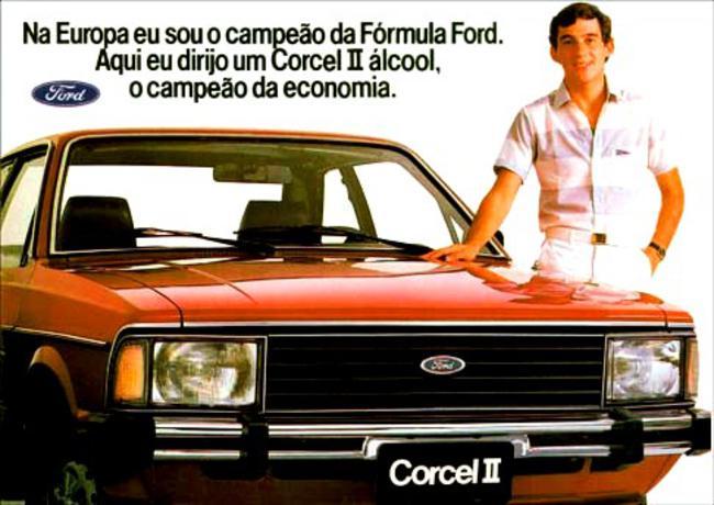 Ayrton Senna como garoto-propaganda do Corcel II, de 1983.