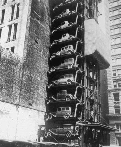 Este era o edifício-garagem americano na década de 30.