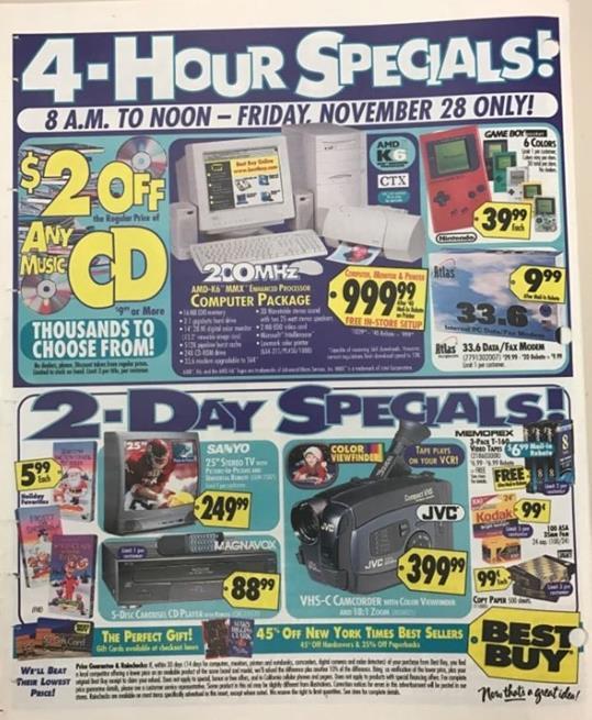Anúncio de Black Friday em 1997
