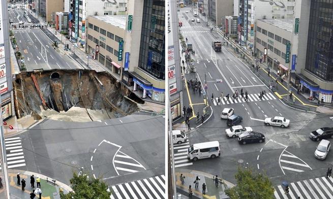 Em apenas dois dias, toda a rua foi consertada. O Japão é incrível!