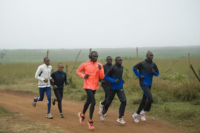 800 metre world record holder, David Rudisha [3-L] runs during a morning workout with compatriots 1500 metre Olympic champion Asbel Kiprop [R], 800 metre world-junior-silver-medalist Timothy Kitum [2-R] and 800m Africa-silver-medalist Antony Chemut [3-R] on July 25, 2012 at the Ngong' hills near Nairobi ahead of the London 2012 Olympics which kick-off on Friday. World and Olympic 1500m champion Asbel Kiprop has expressed confidence the Kenyans will break the Olympic record established 12 years ago by compatriot Noah Ngeny during the London Games. Kiprop, along with countrymen Silas Kiplagat and Nixon Chepseba will form a formidable team at the games, as all of them have run the fastest times in the world this year. AFP PHOTO/Tony KARUMBA (Photo credit should read TONY KARUMBA/AFP/GettyImages)