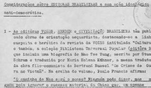 Relatório acusando editoras brasileiras de ação ideológica e antidemocrática, encaminhado às universidades federais pela DSI do MEC