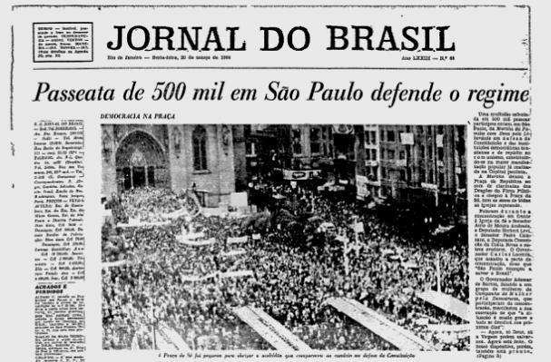 Primeira página do Jornal do Brasil noticia a primeira Marcha da Família com Deus e pela Liberdade, em São Paulo