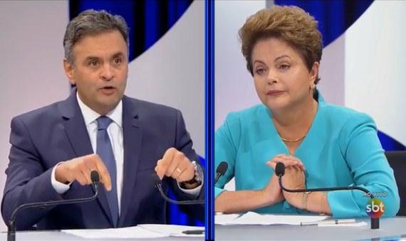 Aécio Neves e Dilma Rousseff no debate do SBT. Foto: Reprodução