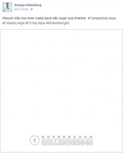 Publicação em branco do senador no Rodrigo Rollemberg (PSB-DF), em referência à campanha contra o uso de cavaletes em Brasília. (Reprodução Facebook)