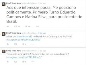Renê Terra Nova já declarou apoio a Campos nas redes sociais (Reprodução)